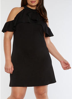 Plus Size Ruffled Cold Shoulder Dress - BLACK - 3822020626680