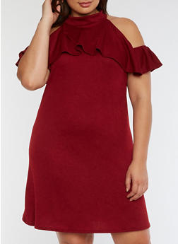 Plus Size Ruffled Cold Shoulder Dress - 3822020626680