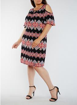 Plus Size Printed Cold Shoulder Dress - BLACK/CORAL - 3822020628256