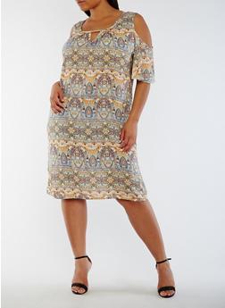 Plus Size Printed Cold Shoulder Dress - SAGE/BLU/YEL - 3822020628256
