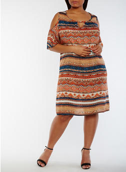 Plus Size Printed Cold Shoulder Dress - RUST/TAUPE/ROYAL - 3822020628256