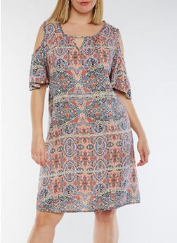 Plus Size Printed Cold Shoulder Dress - TAUPE/RUST - 3822020628256