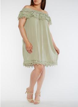 Plus Size Off the Shoulder Dress with Crochet Trim - 3822035043371