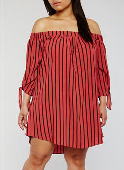 Plus Size Striped Off the Shoulder Dress with Tie Sleeves - 3822035046071