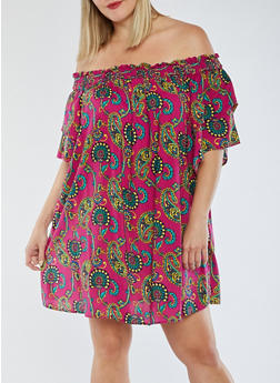 Plus Size Off the Shoulder Printed Dress - 3822051063058