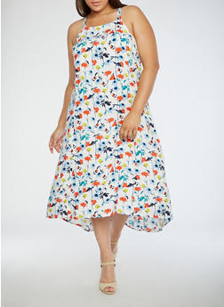 Plus Size Printed High Low Sleeveless Dress - 3822051063381