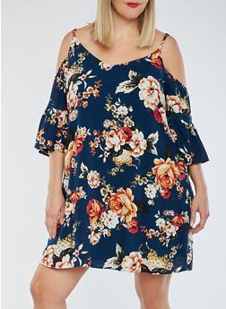 Plus Size Cold Shoulder Lace Trim Printed Dress - 3822051063382
