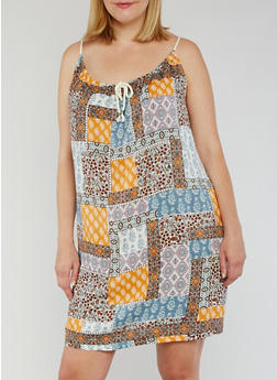 Plus Size Sleeveless Printed Rope Tie Dress - GOLD PATCH - 3822051068291