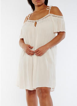 Plus Size Off the Shoulder Gauze Knit Dress - 3822051068330