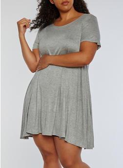 Plus Size Short Sleeve Solid Swing Dress - 3822054261088