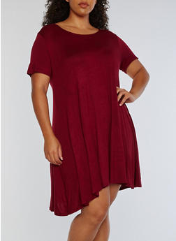 Plus Size Short Sleeve Solid Swing Dress - BURGUNDY - 3822054261088