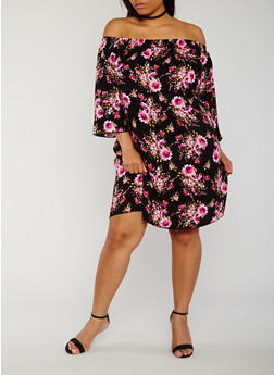 Plus Size Floral Off the Shoulder Peasant Dress - 3822054261511