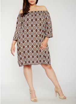 Plus Size Printed Off the Shoulder Dress - 3822054261544
