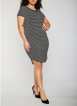 Plus Size Short Sleeve Striped T Shirt Dress - 3822054262859