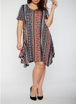 Plus Size Printed Sharkbite Trapeze Dress - 3822054263482