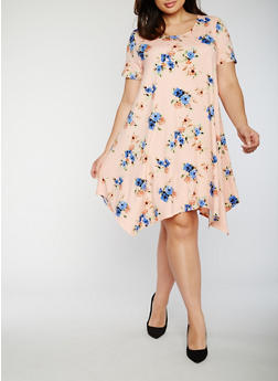 Plus Size Short Sleeve Floral Shift Dress - 3822054263483
