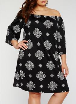 Plus Size Off the Shoulder Printed Dress - BLACK/IVORY - 3822054263485