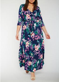Plus Size Floral Faux Wrap Maxi Dress - 3822054263489