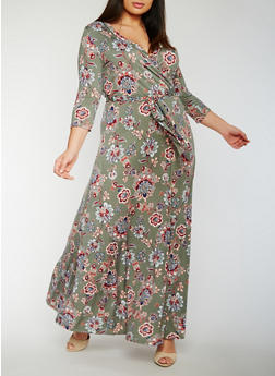 Plus Size Floral Faux Wrap Maxi Dress - 3822054263897