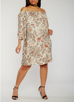 Plus Size Off the Shoulder Printed Peasant Dress - 3822054264415
