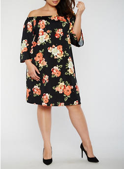 Plus Size Off the Shoulder Floral Dress - 3822054264885