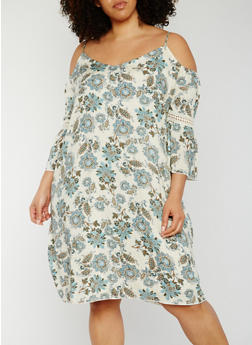 Plus Size Floral Cold Shoulder Dress with Crochet Insert - 3822054264888