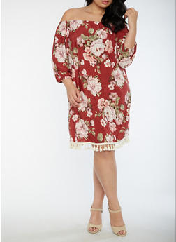Plus Size Off the Shoulder Floral Dress - 3822054265021