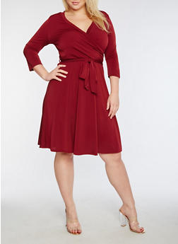 Plus Size Faux Wrap Solid Midi Dress - 3822054265116