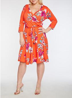 Plus Size Faux Wrap Floral Printed Midi Dress - 3822054265163