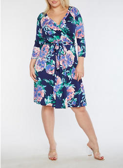 Plus Size Faux Wrap Floral Printed Midi Dress - 3822054265165