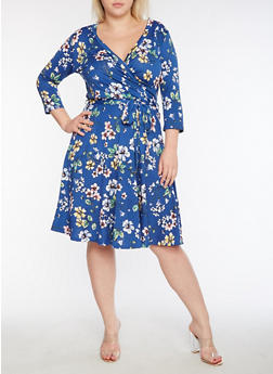 Plus Size Faux Wrap Floral Printed Midi Dress - 3822054265168