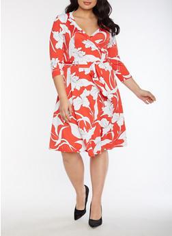 Plus Size Faux Wrap Floral Printed Midi Dress - 3822054265169