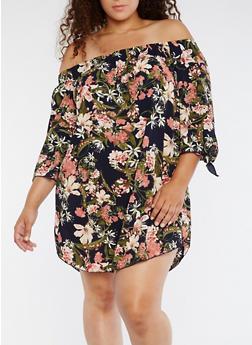 Plus Size Off the Shoulder Dress - 3822054265389