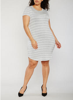 Plus Size Striped Short Sleeve T Shirt Dress - 3822054265928