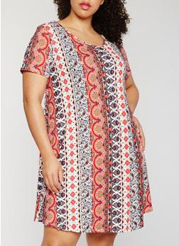 Plus Size Printed Shift Dress - 3822054268210