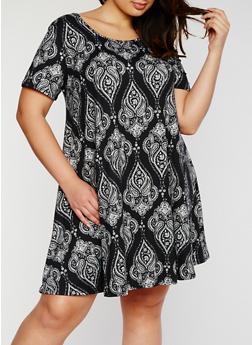 Plus Size Short Sleeve Paisley Midi Dress - 3822054268211