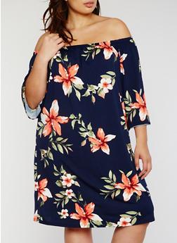 Plus Size Floral Off the Shoulder Midi Dress - 3822054268534