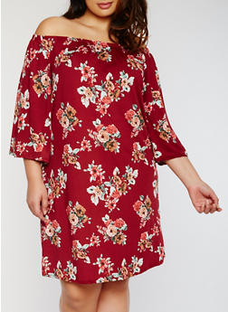 Plus Size Off the Shoulder Floral Shift Dress - 3822054268853