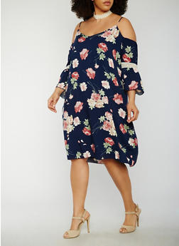 Plus Size Cold Shoulder Floral Dress with Crochet Insert - 3822054268883