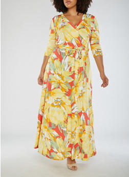 Plus Size Printed Faux Wrap Maxi Dress - 3822054268971