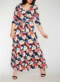 Plus Size Floral Faux Wrap Maxi Dress - 3822054268974