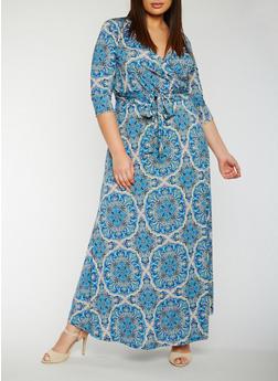 Plus Size Printed Faux Wrap Maxi Dress - 3822054268976