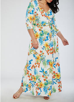 Plus Size Floral Faux Wrap Maxi Dress - 3822054269719