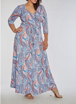 Plus Size Faux Wrap Printed Maxi Dress - 3822054269721