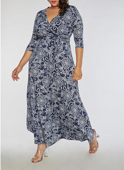 Plus Size Faux Wrap Printed Maxi Dress - 3822054269722