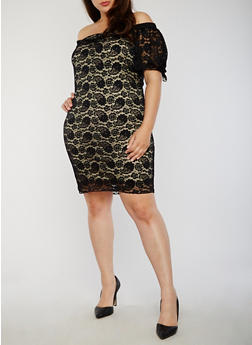 Plus Size Off the Shoulder Lace Dress with Tie Sleeves - 3822058605799