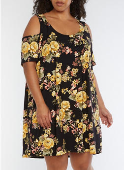 Plus Size Floral Cold Shoulder Trapeze Dress - 3822062418359