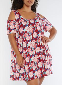 Plus Size Floral Cold Shoulder Trapeze Dress - POPPY - 3822062418359