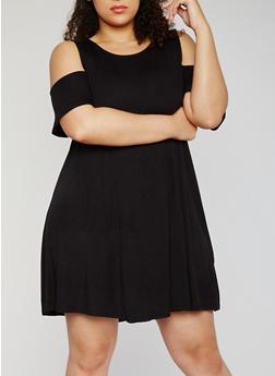 Plus Size Solid Cold Shoulder Trapeze Dress - 3822066496750