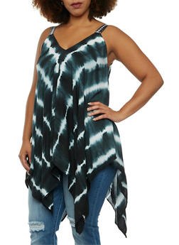 Plus Size Tie-Dye Maxi Top with Embroidered Shoulder Straps - 3850070651411